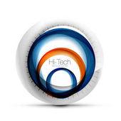 Digitální techno koule web banner, tlačítko nebo ikonu s textem. Lesklá spirála barva abstraktní kruh design, hi-tech futuristické symbol s barevných kroužků a šedý kovový prvek