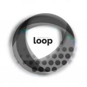 Loop kruhu obchodní ikonu, vytvořené s tvary skla, transparentní barva