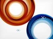Létající abstraktní kruhy, vektorové geometrické pozadí, barevné vzduchové bubliny, web šablona nápisu, podnikání nebo technologie prezentace pozadí nebo prvky