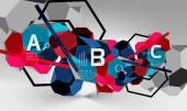 3D šestiúhelník geometrické kompozice, geometrické digitální abstraktní pozadí