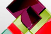 Hochglanzglasquadrate mit runden Elementen geometrische Komposition. Abstrakter geometrischer Hintergrund mit 3D-Effektkomposition für Tapeten, Banner, Hintergrund, Karte, Buchillustration, Landing Page