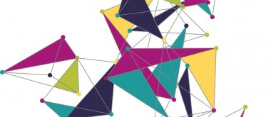 Line points connections, triangular technology design. Abstract geometric background