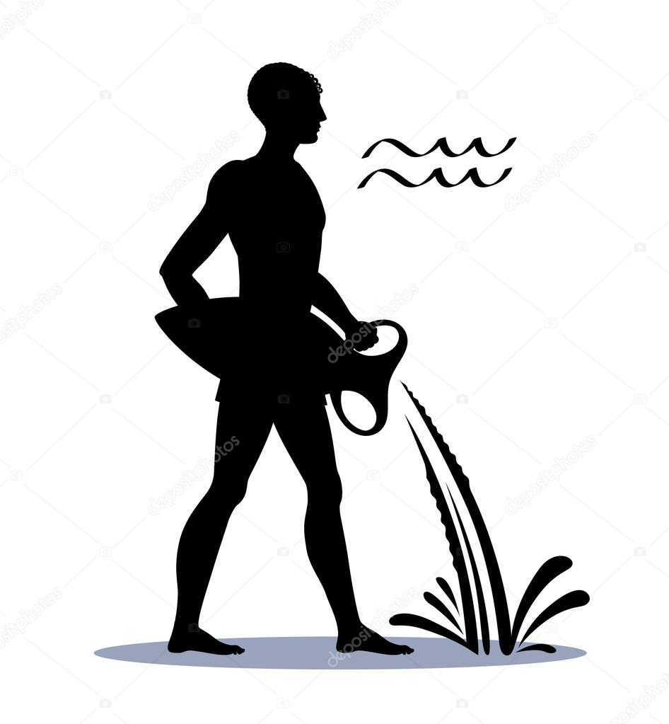 Sign aquarius or water bearer zodiac horoscope vector sign aquarius or water bearer zodiac horoscope vector illustration silhouette of a man pouring water from an amphora dynamic symbol of the month buycottarizona