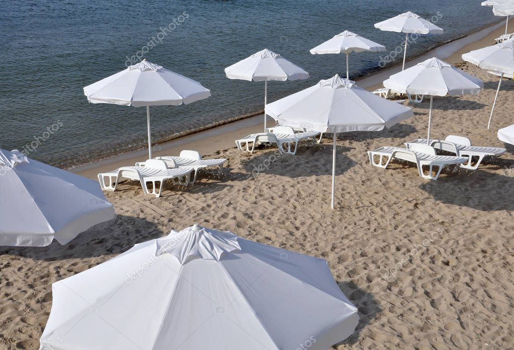 Beach umbrellas and sun loungers