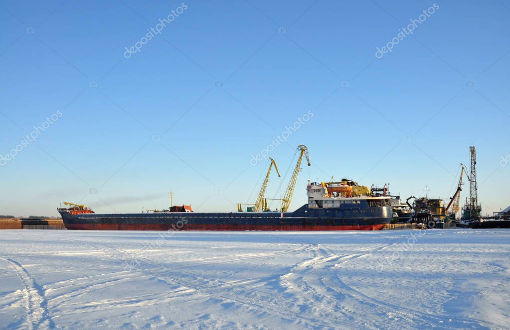 Ships on the winter Parking lot