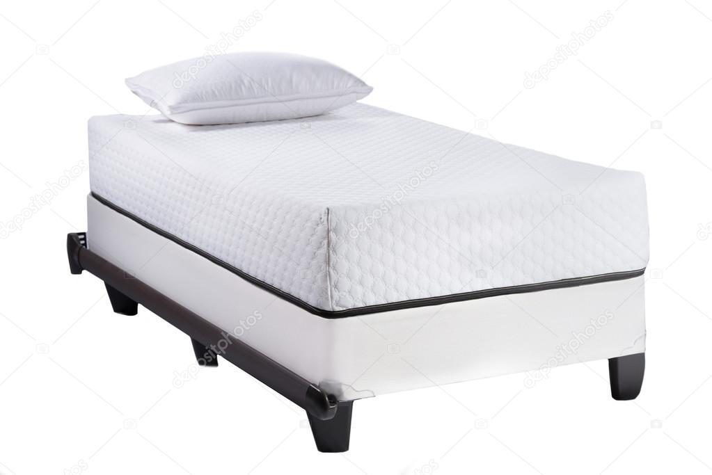 Marco de cama Twin con suave colchón y almohada blanco aislado sobre ...