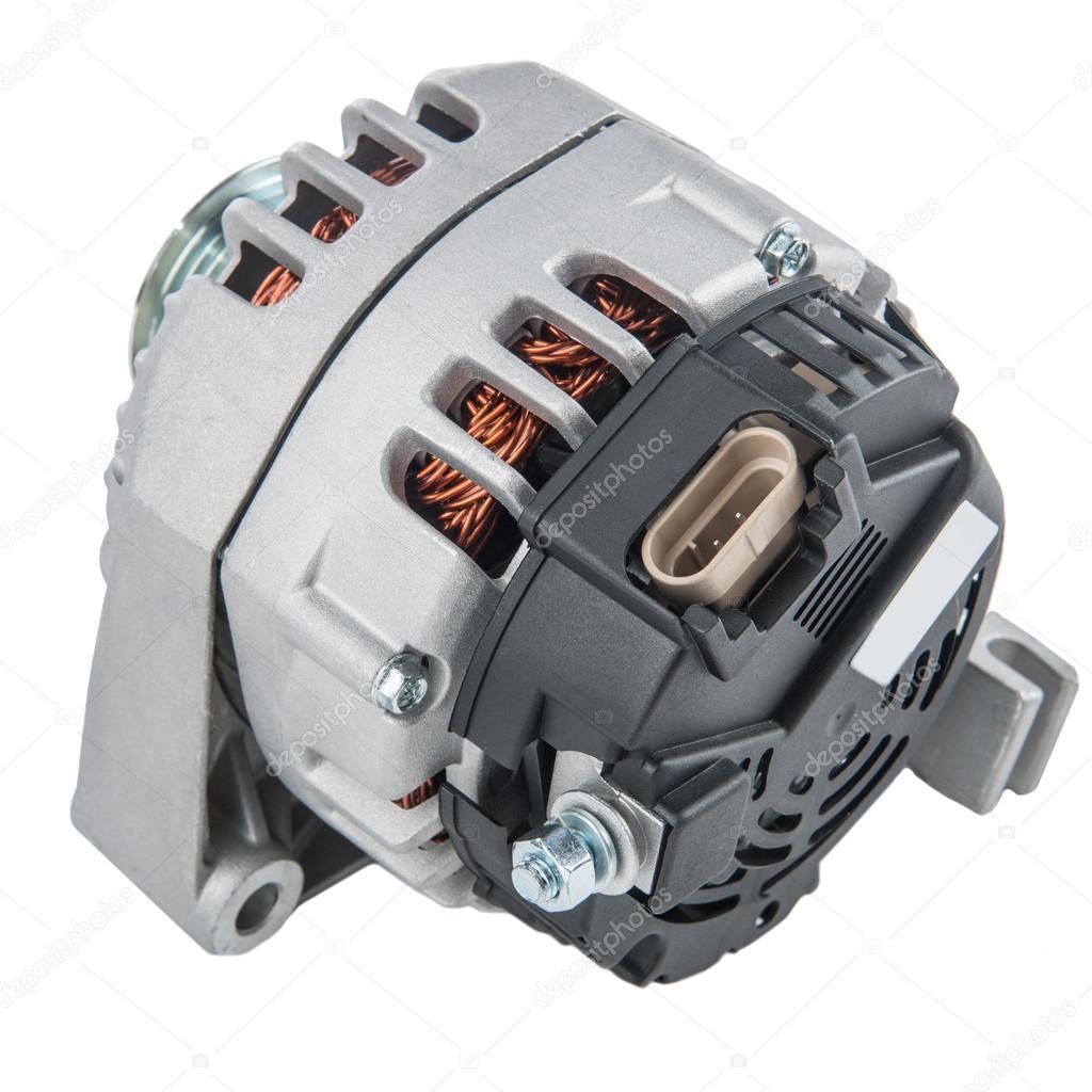 Stromerzeuger oder Lichtmaschine isoliert auf weißem Hintergrund ...