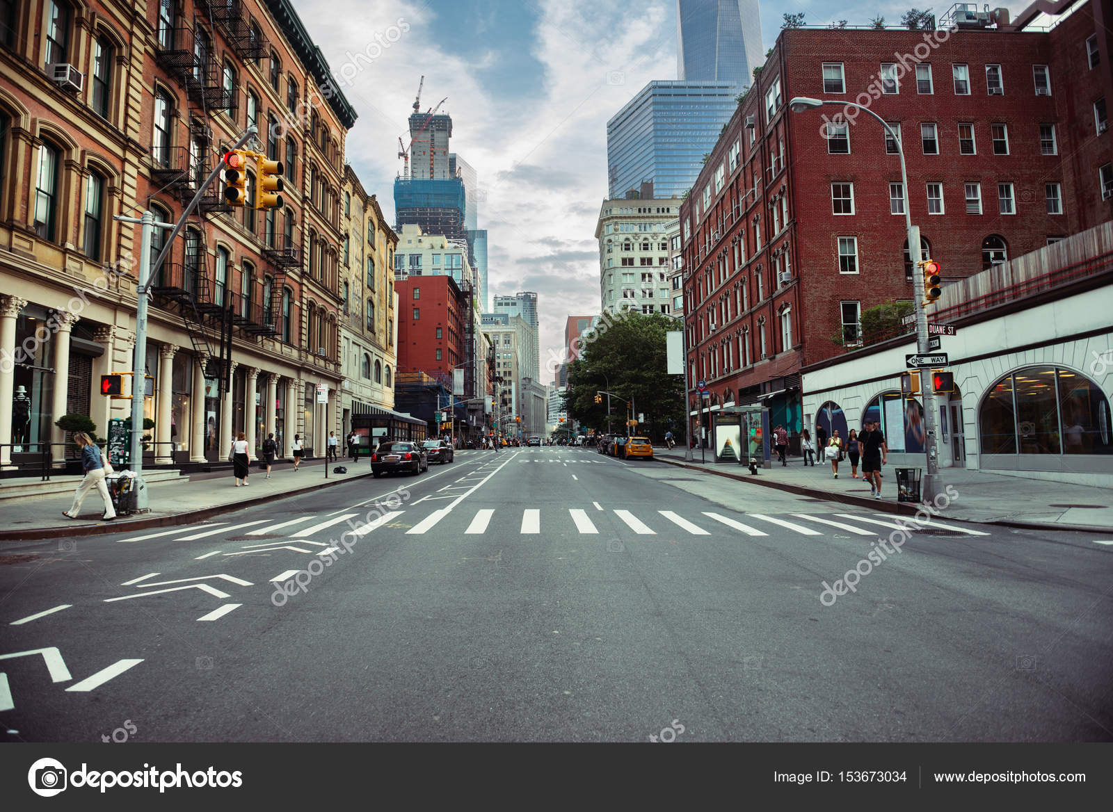 New York City Street Road In Manhattan At Summer Time