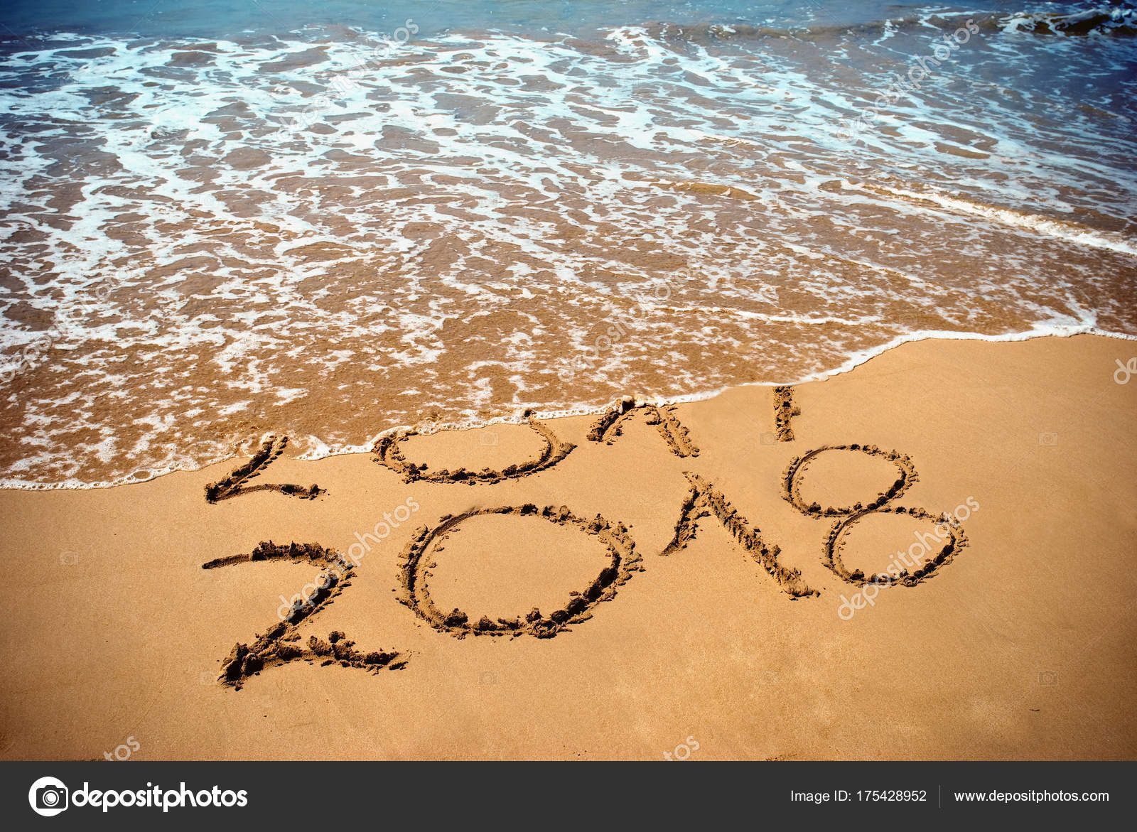 New Year 2018 Coming Concept Inscription 2017 2018 Beach