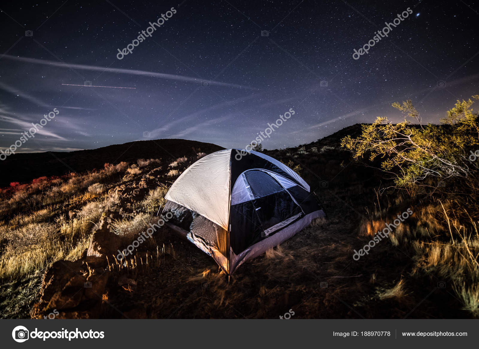 Camping In The Tent Scenic Desert Against Night Sky With Stars Photo By JANIFEST