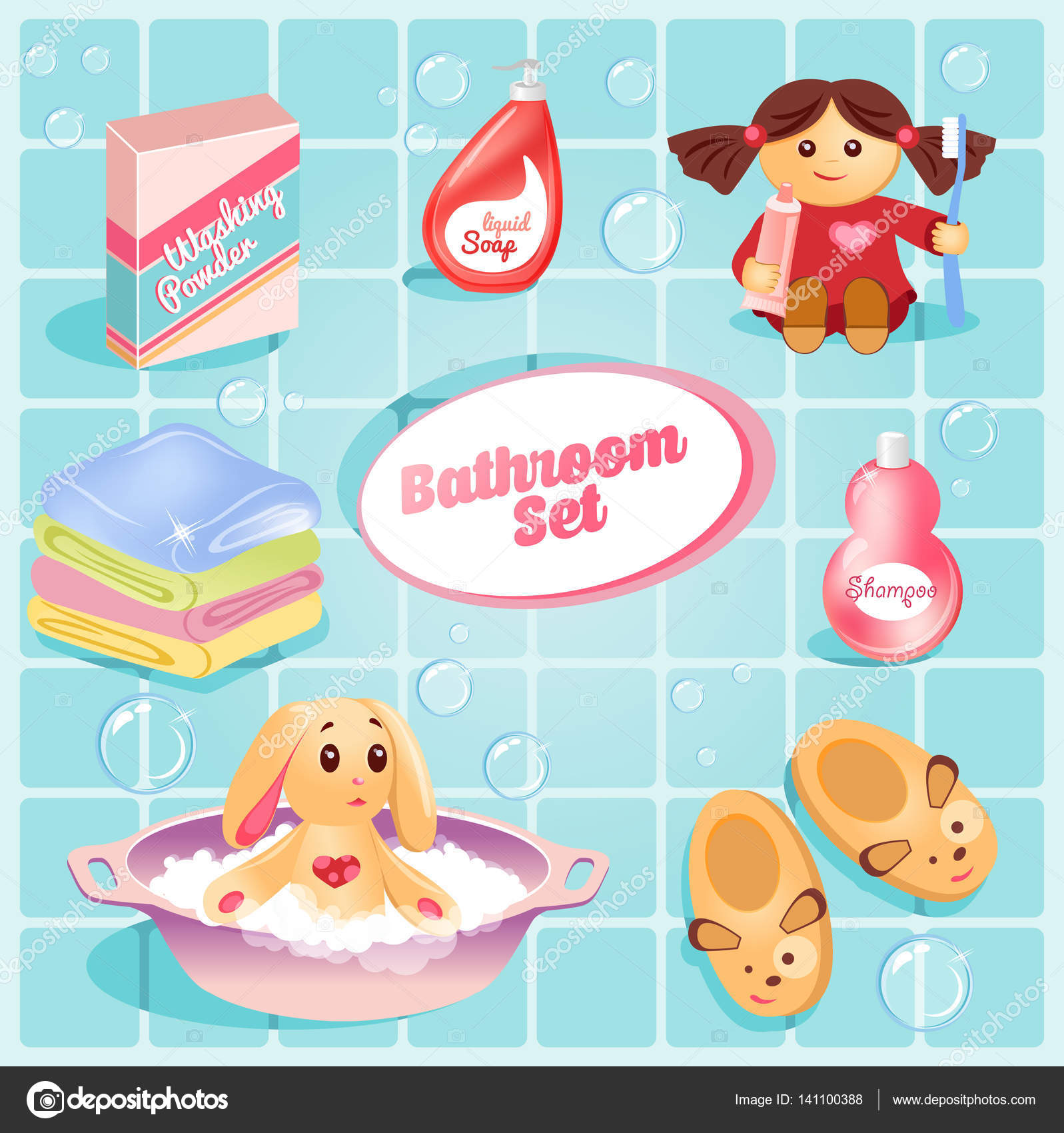 Bathroom sets for kids - Cute Bathroom Set For Kids Toy Rabbit In The Pelvis Shampoo Soap Towels Baby Doll With A Toothbrush And Toothpaste Slippers Vector