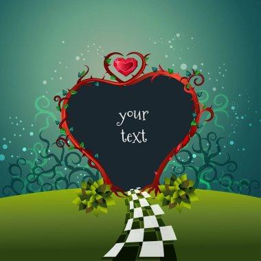 Beautiful frame Alice in Wonderland stile. Garden heart gate and text. Vector illustration. stock vector