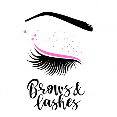 Brows and lashes lettering