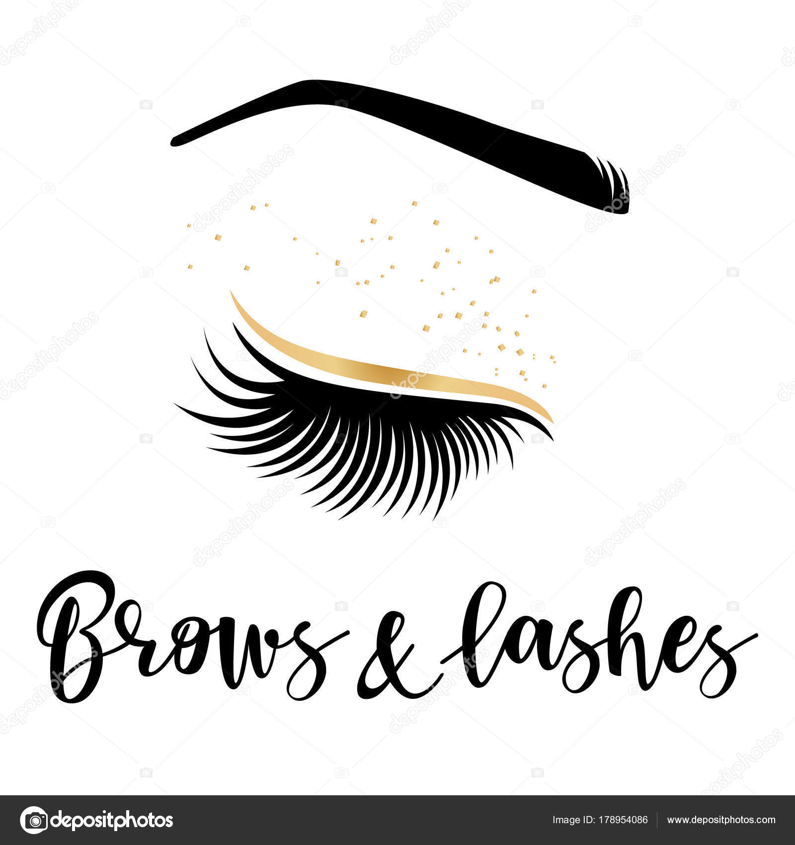 95c987d2d18 Brows and lashes gold logo. Vector illustration of lashes and brow. For  beauty salon, lash extensions maker, brow master. — Vector by Volchonok