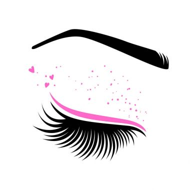 Pink makeup for Valentine's day. Vector illustration of lashes and brow. For beauty salon, lash extensions maker, brow master. stock vector