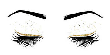 Vector illustration of eyes with long eyes lashes. For beauty salon, lash extensions maker. stock vector