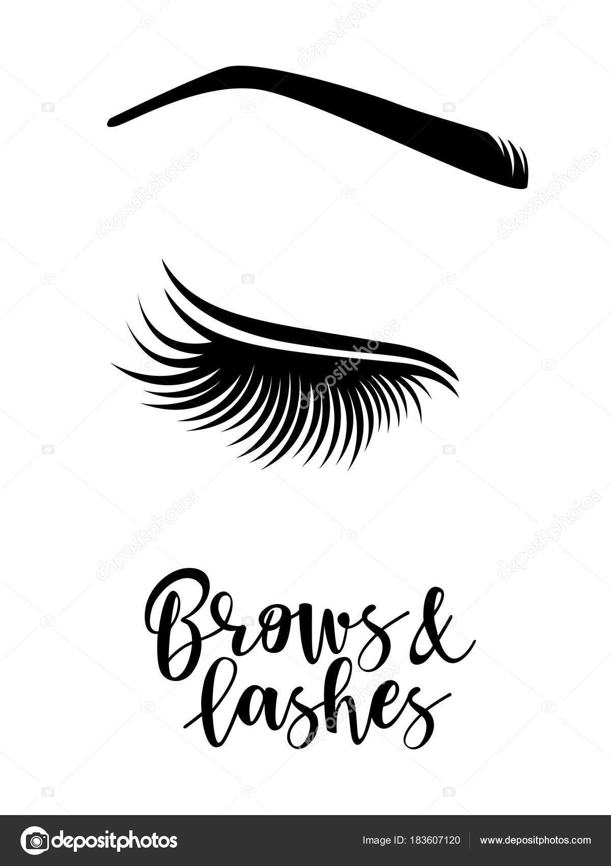 a72b8f38374 Brows and lashes logo. Vector illustration of brows and lashes. For beauty  salon, brows master, lash extensions maker. — Vector by Volchonok