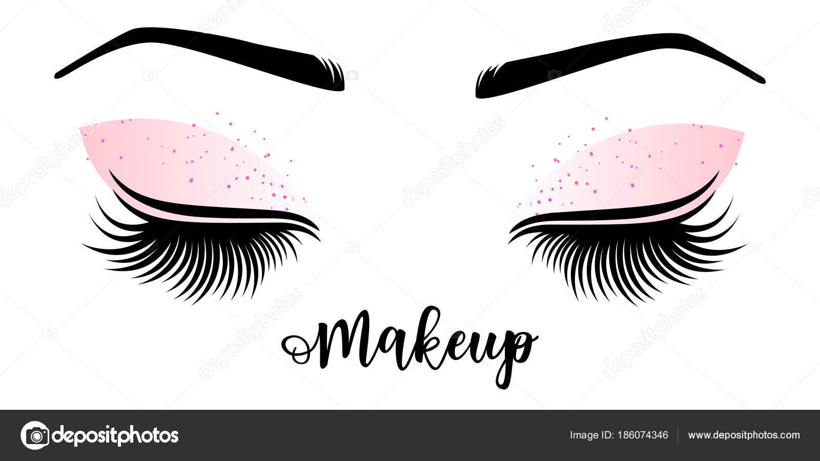 66f53635ca7 Makeup master logo. Vector illustration of lashes and brow. — Stock Vector