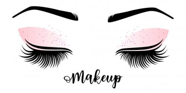 Makeup master logo. Vector illustration of lashes and brow.