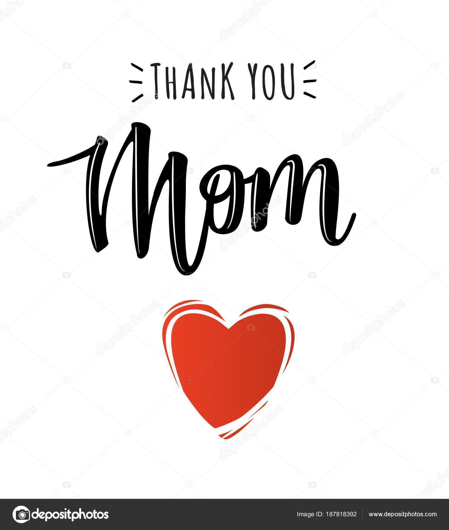 Wektor Plakat Z Tekstem Dziękuję Mama Grafika Wektorowa