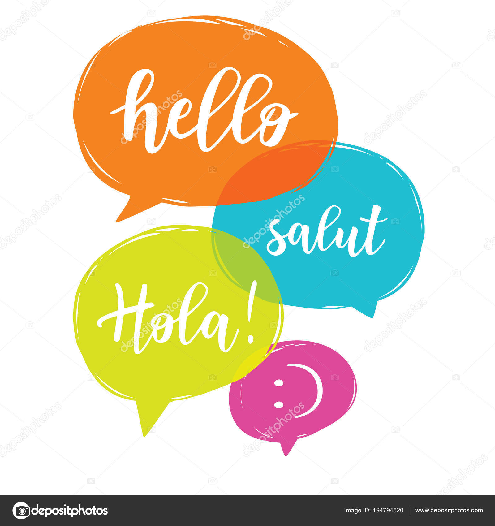 Hello In Different Languages Stock Vector Volchonok 194794520