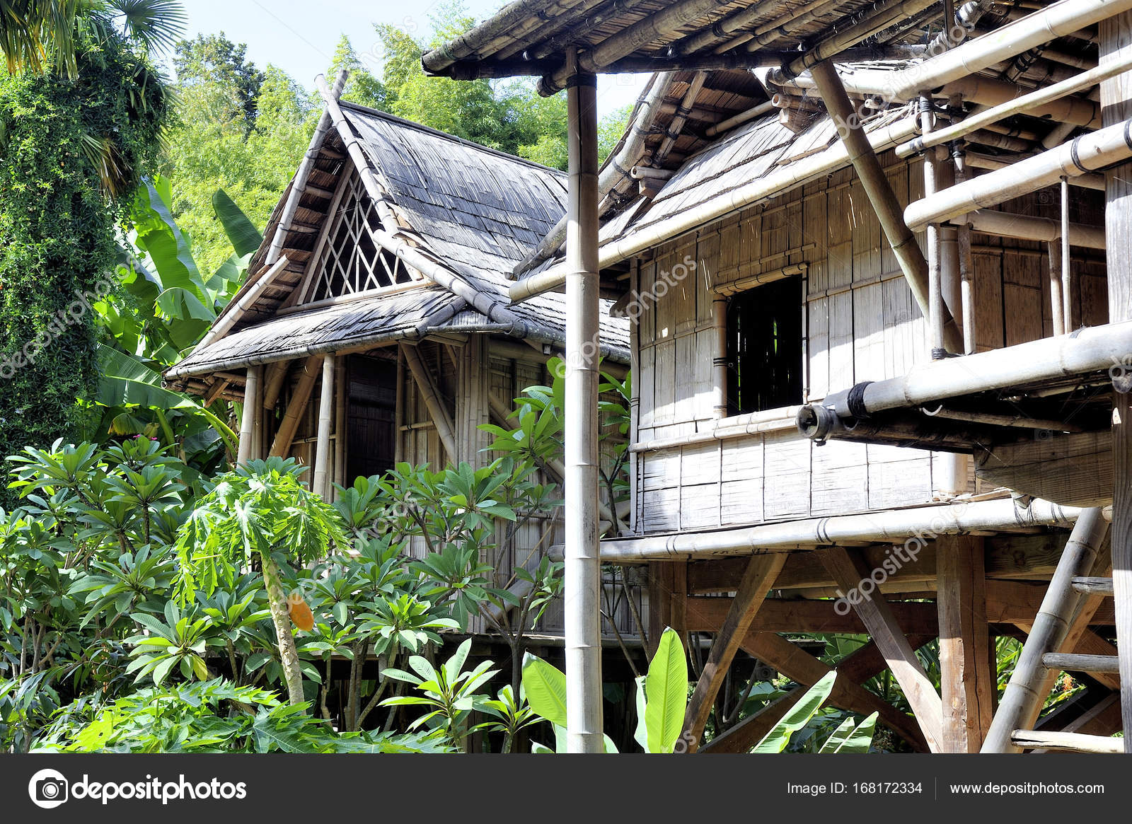 reproduction of a Laos house in the Anduze bamboo plantation Stock