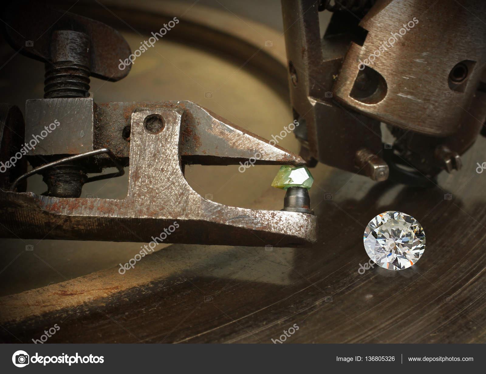 Faceting diamond, big gem with jewelery cutting equipment