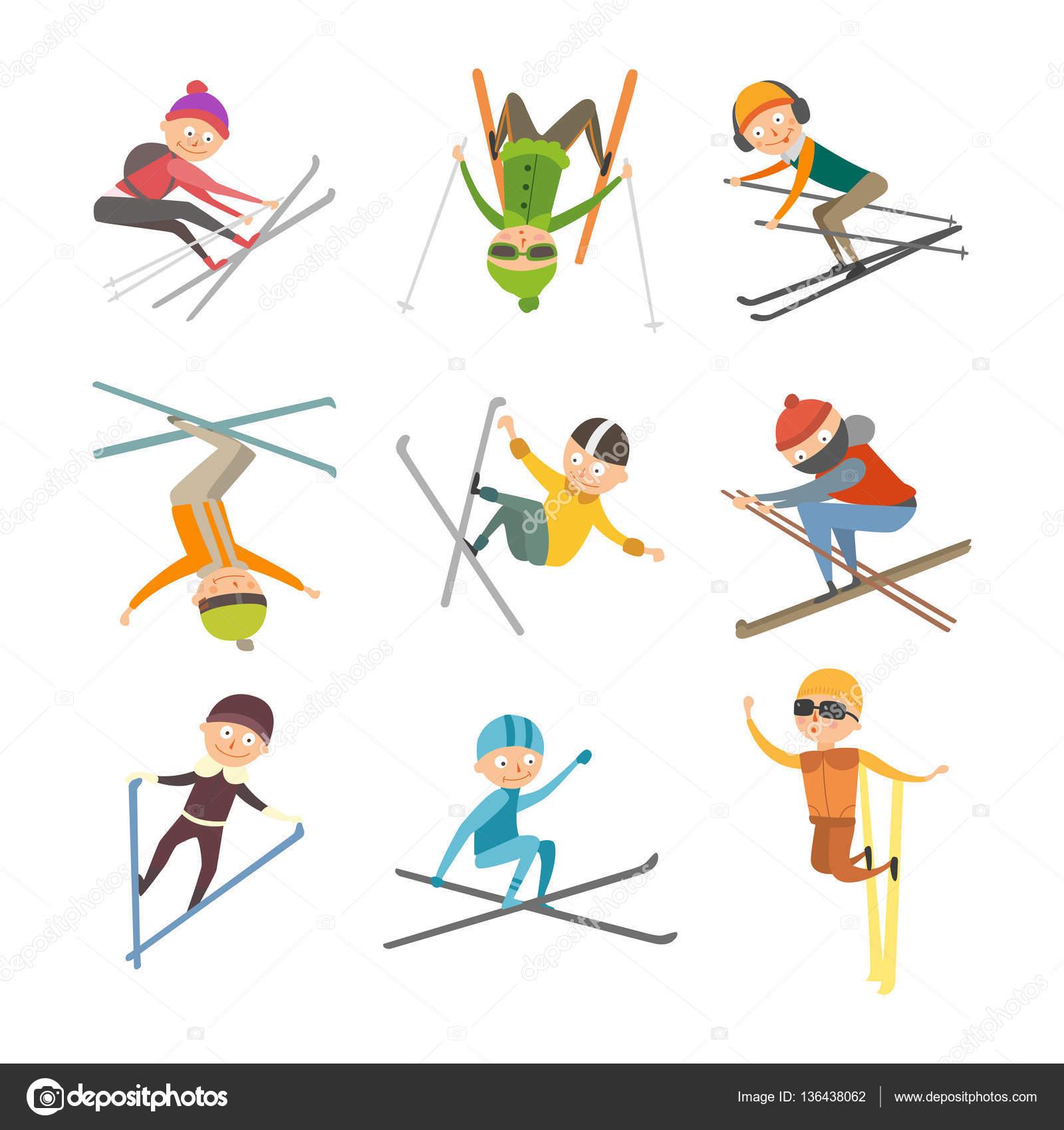 スキーの人々 トリック ベクトル イラスト ストックベクター