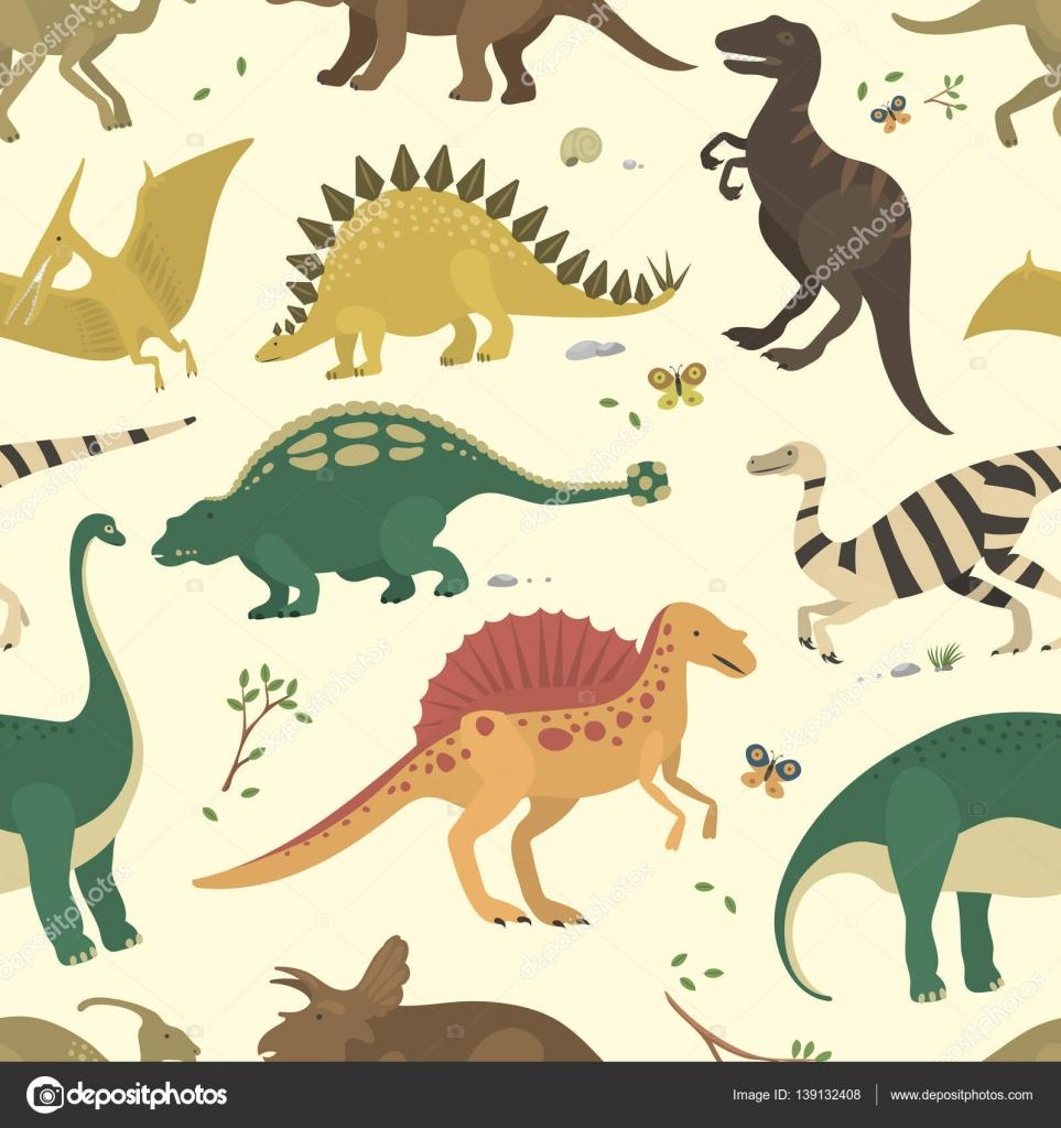 Vector de dinosaurio color vintage de patrones sin fisuras — Archivo ...