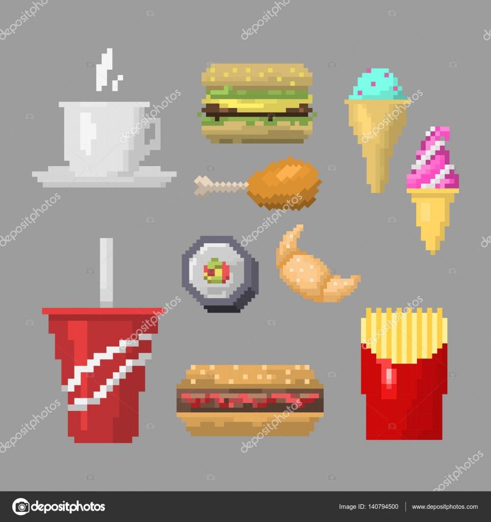 Vector de iconos pixel arte comida r pida vector de for Petit dejeuner en amoureux maison