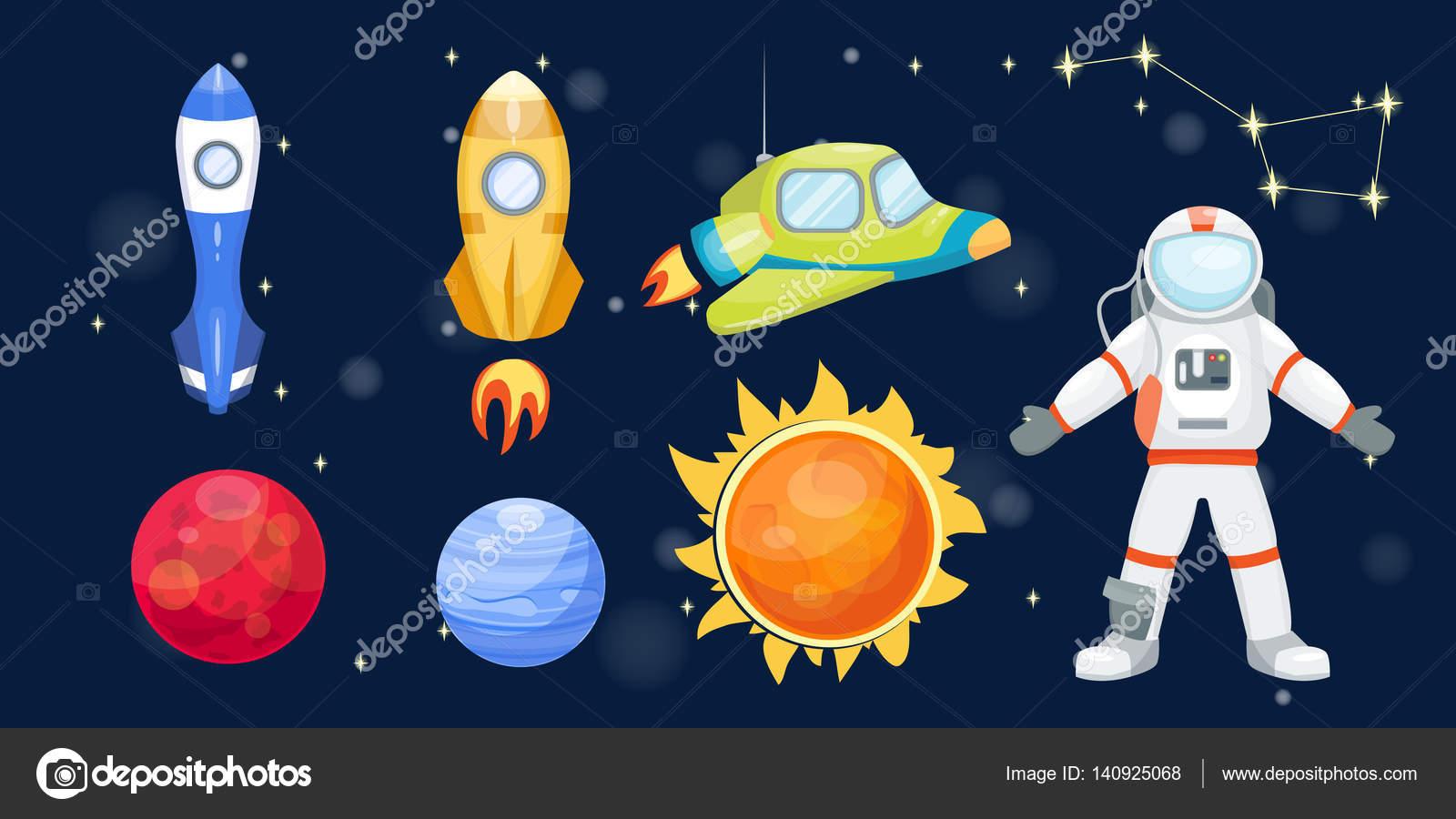 Cohete De Espacio De Dibujos: Dibujos Animados De Cohete De Espacio Astronomía Sistema