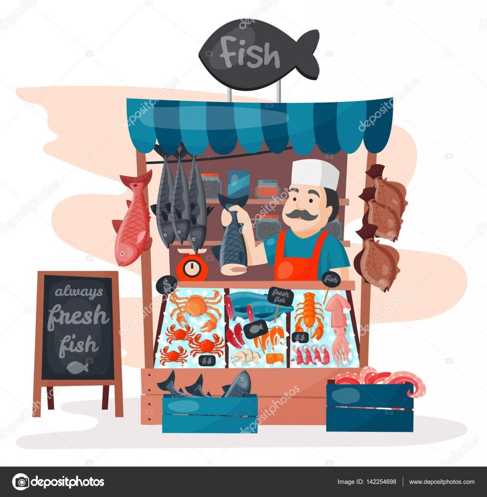 Retro-Straße Fischgeschäft speichern Markt mit frische Meeresfrüchte ...