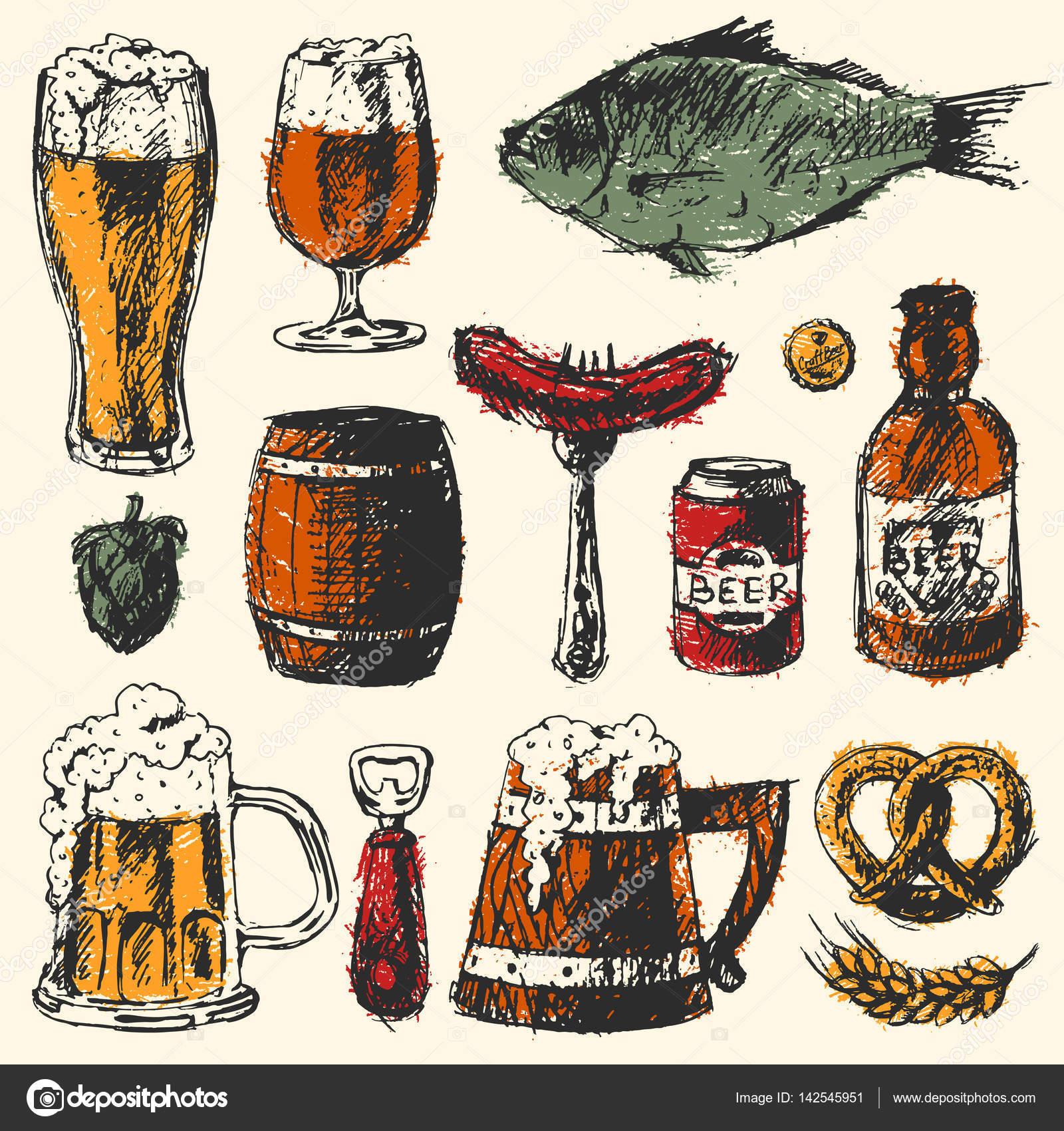 Bier Essen set mit Becher Flasche Weizen Hop Elemente und hand ...