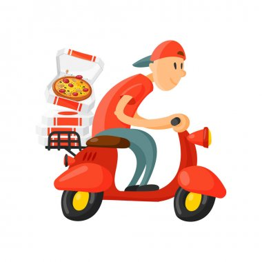 Italian cook pizza delivery boy vector illustration.