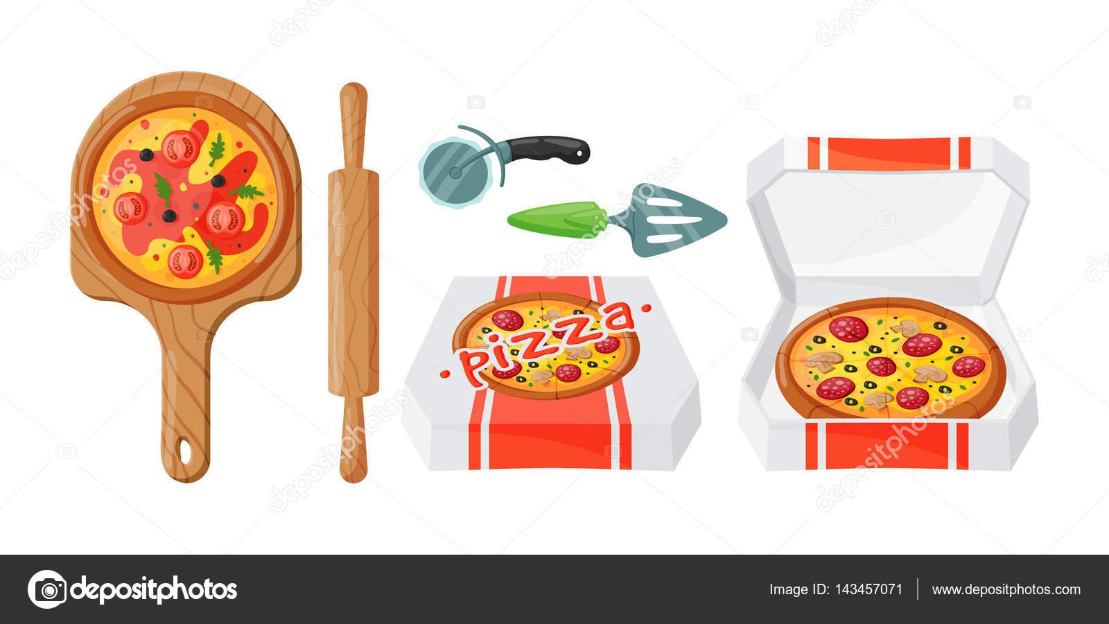 Italian Cook Pizza Icons Vector Illustration Stock Vector
