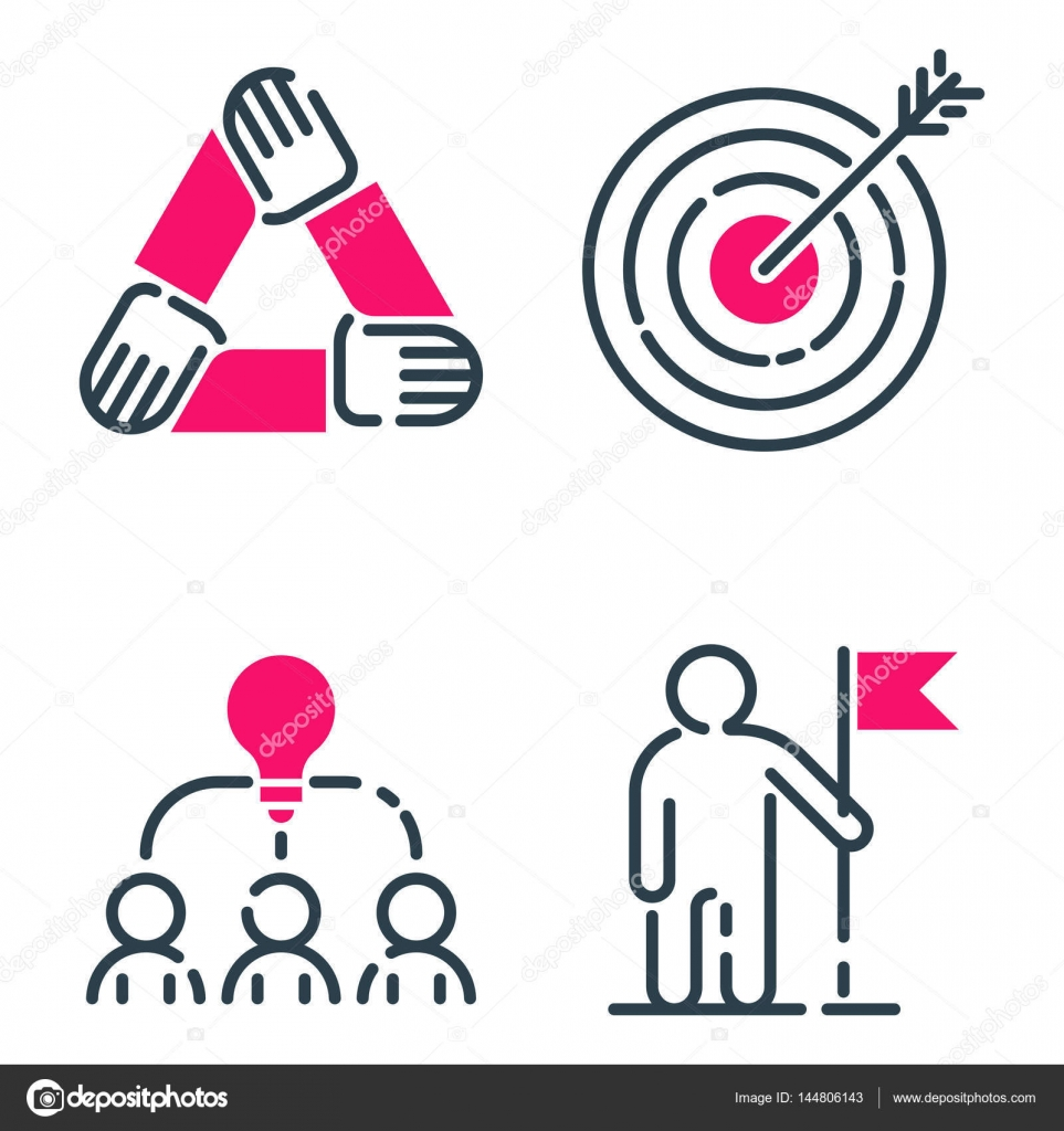 Motivación concepto gráfico icono rosa negocios estrategia ...