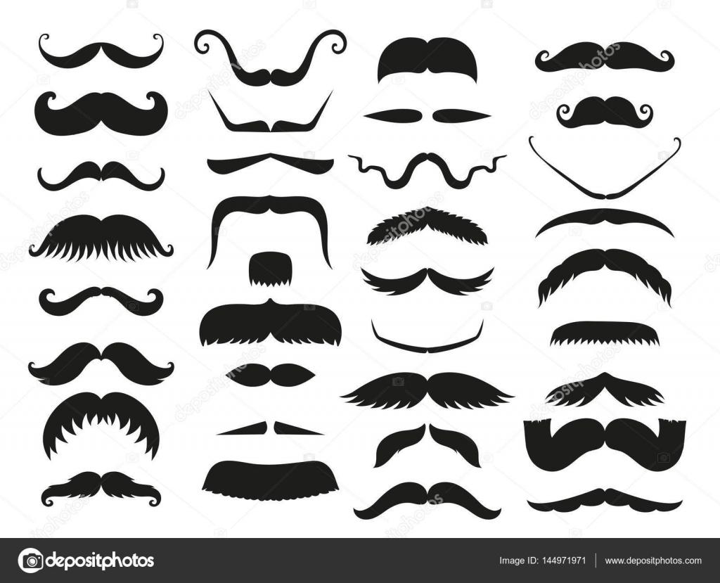 Silhouette vecteur moustache blanche noir cheveux hipster - Dessin de moustache ...