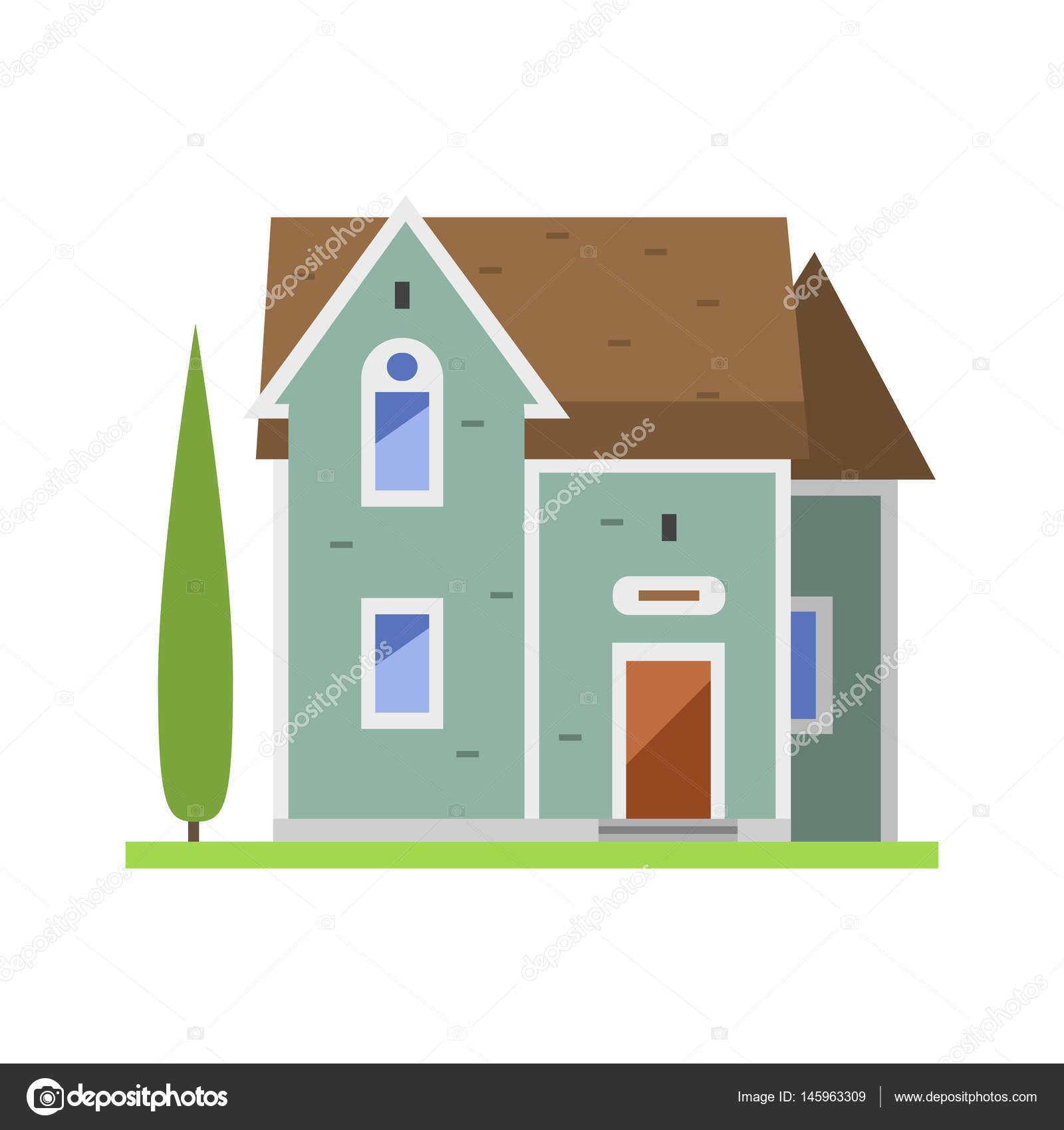 Niedlichen bunten flachen Stil Haus Dorf Symbol Immobilien Cottage ...