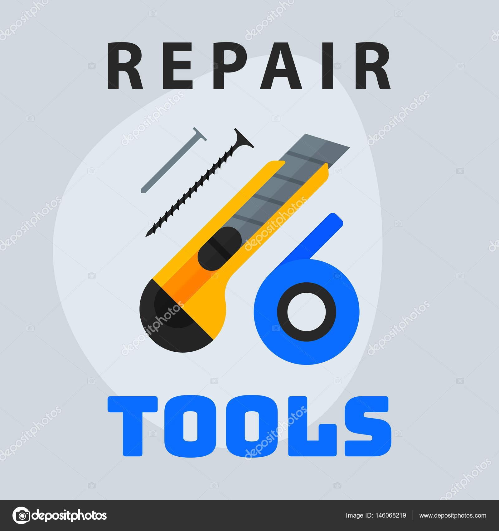 Reparatur Tools Messer Band Nägel Symbol kreativen Grafik-Design ...