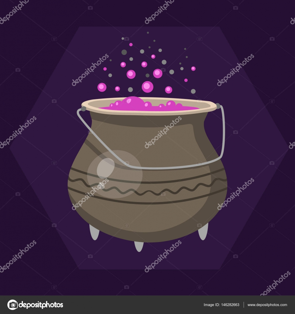 cartoon halloween witches cauldron with pink bubbling cooking art