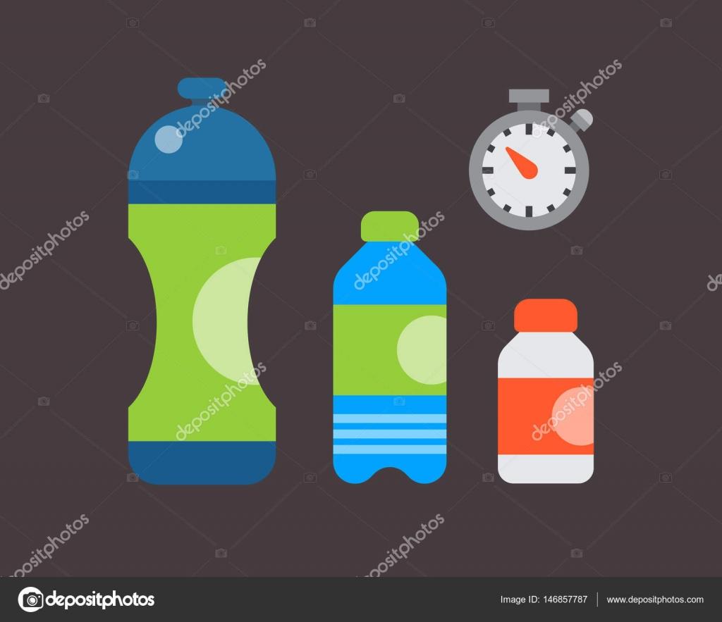 Wasser aus Kunststoff Sport Flasche transparent Mineral Getränk leer ...