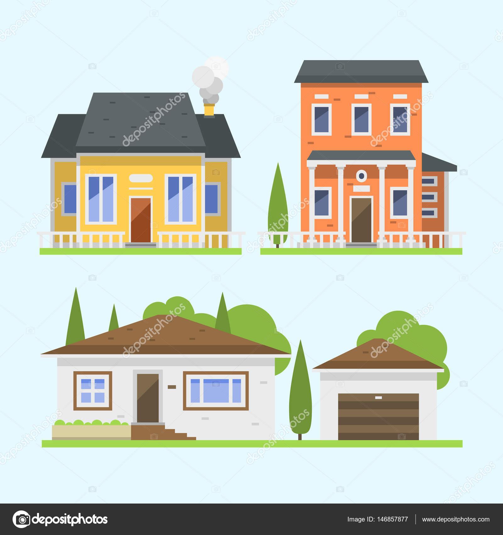 Lindo colorido estilo plano Casa pueblo símbolo bienes raíces casa ...