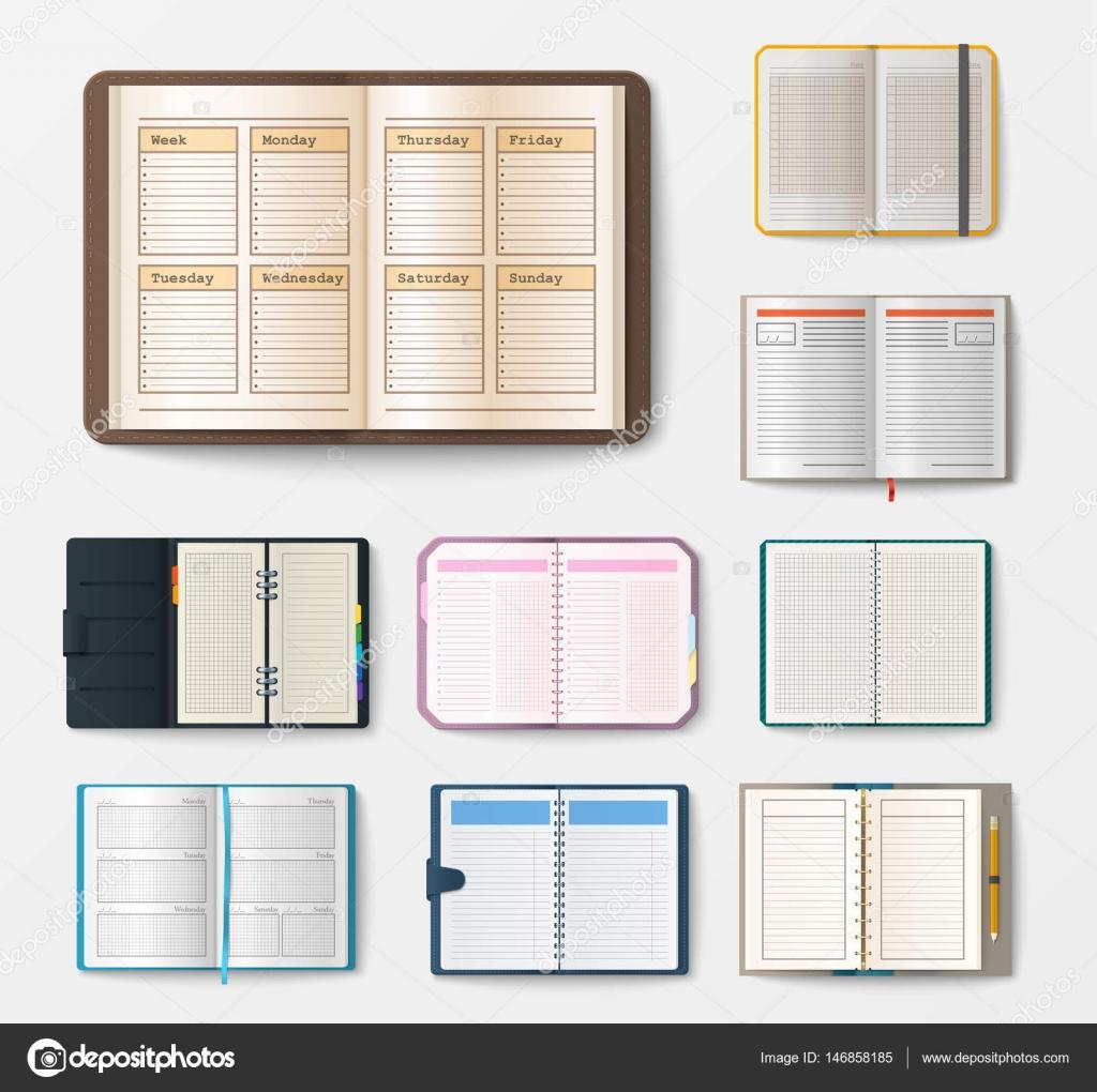 Set de cuadernos realista abiertas con libreto de páginas diario ...