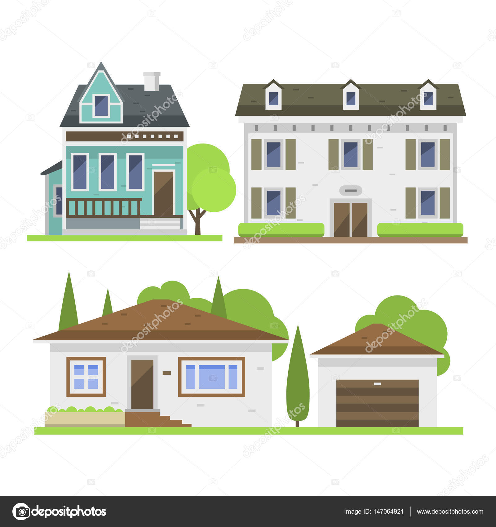 Cute Colorful Flat Style House Village Symbol Real Estate Cottage And Home  Design Residential Colorful Building Construction Vector Illustration.