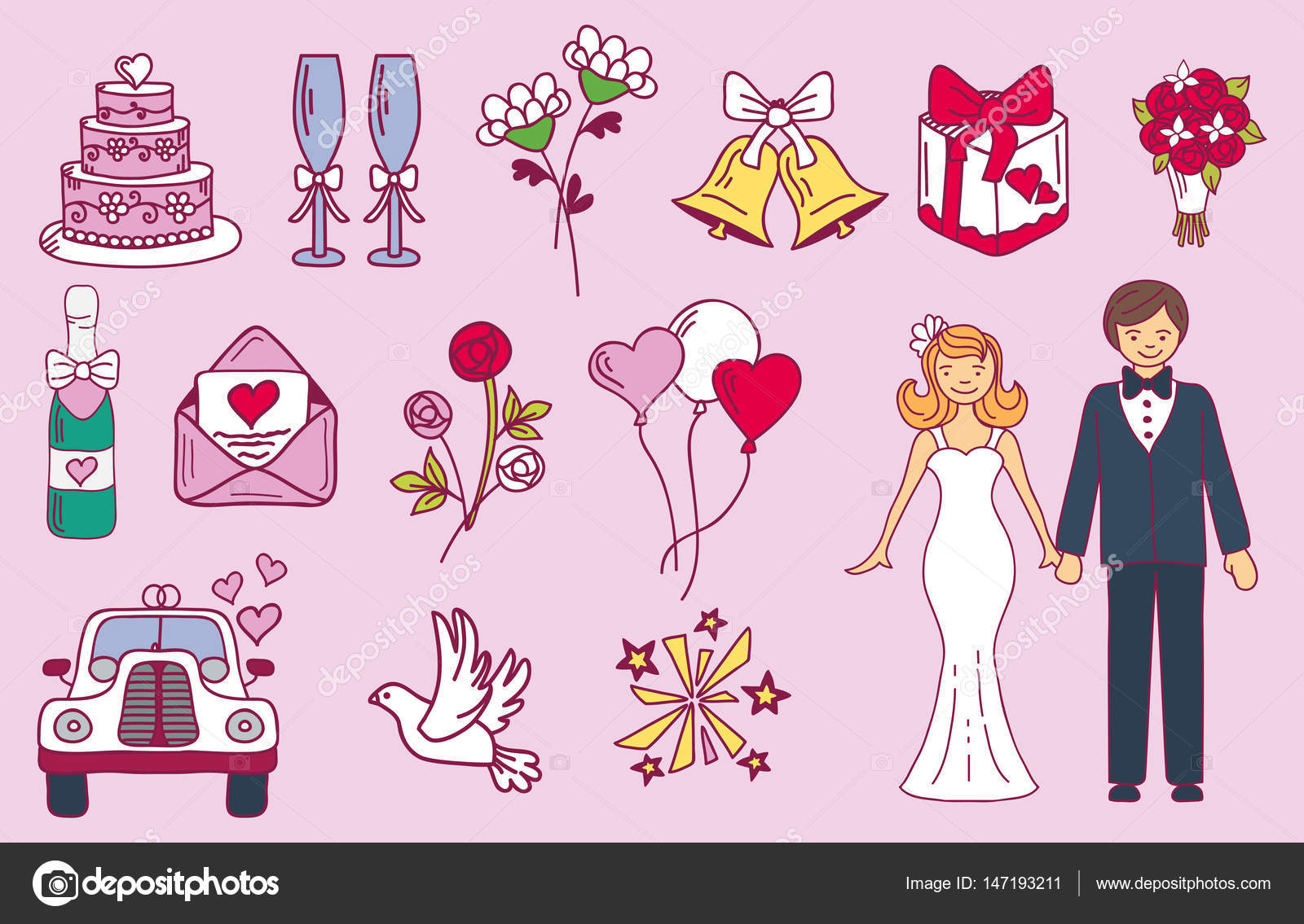 Bride And Groom Wedding Couple Marriage Nuptial Icons Design