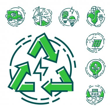 Green ecology energy conservation icons and outline style ecological world power vector illustration.