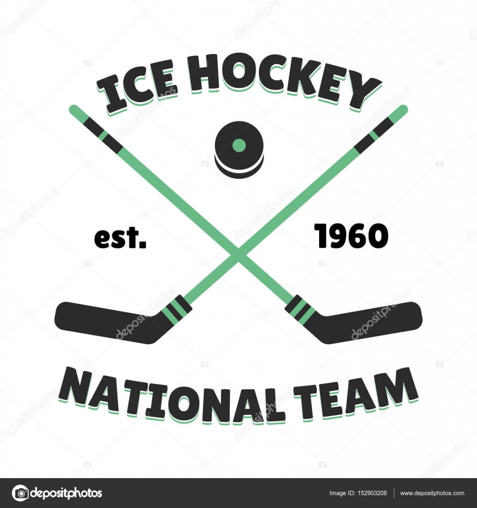 Hockey Label Vector Template For Sport Team With Puck Symbol