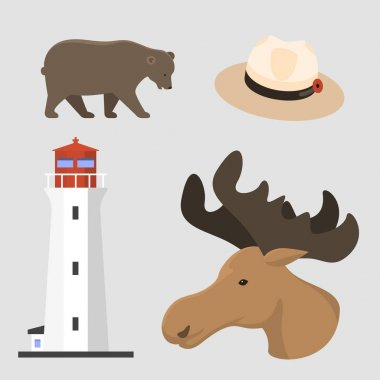 Travel canada traditional objects country tourism design national symbol vector illustration.