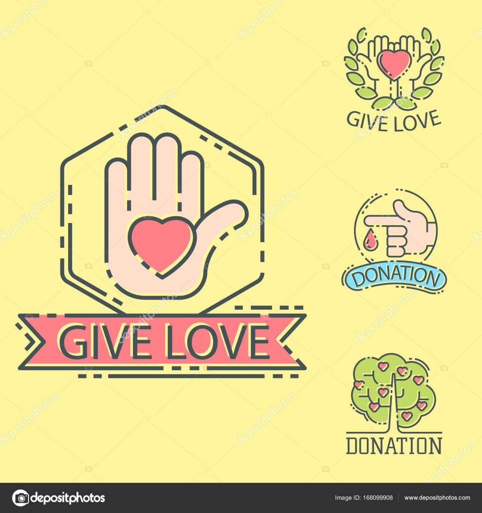 Faire Un Don D Argent Logo Set Icones Aide Icone Don Contribution