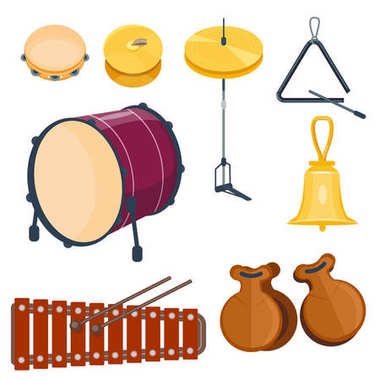Musical drum wood rhythm music instrument series set of percussion vector illustration